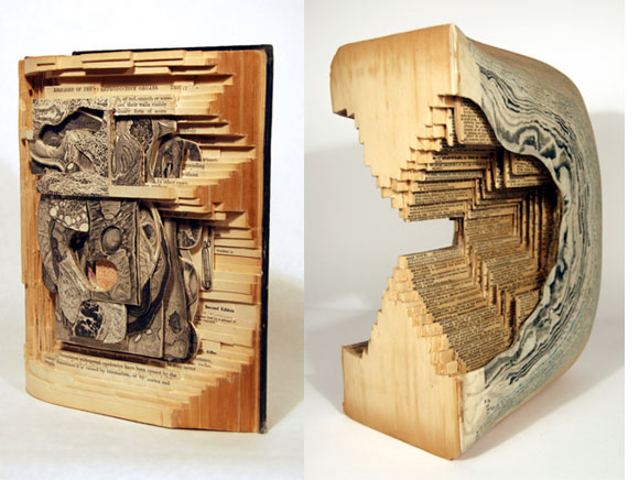 Book carving art hungry for living